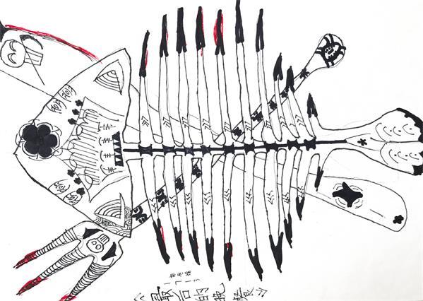 七年级美术课《黑白装饰画---鱼》学生作品_湘潭江声