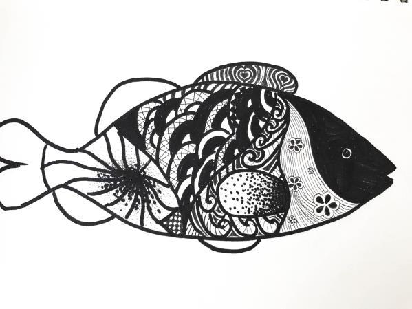 黑白装饰画简单静物图